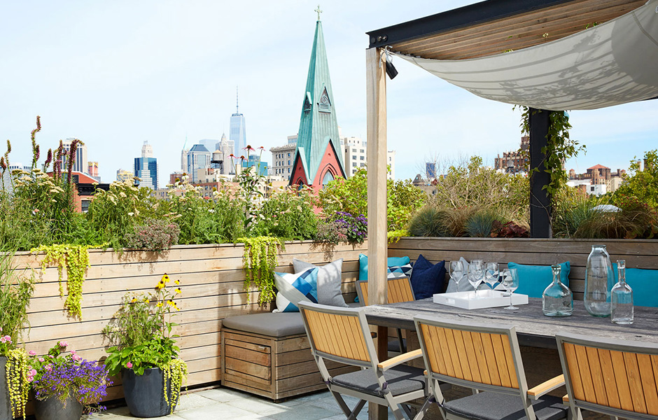 Brooklyn Heights Penthouse Roof Deck Dining