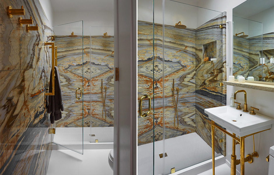 Laurie Blumenfeld Design Matchbook Marble-Brass Master Bathroom Shower